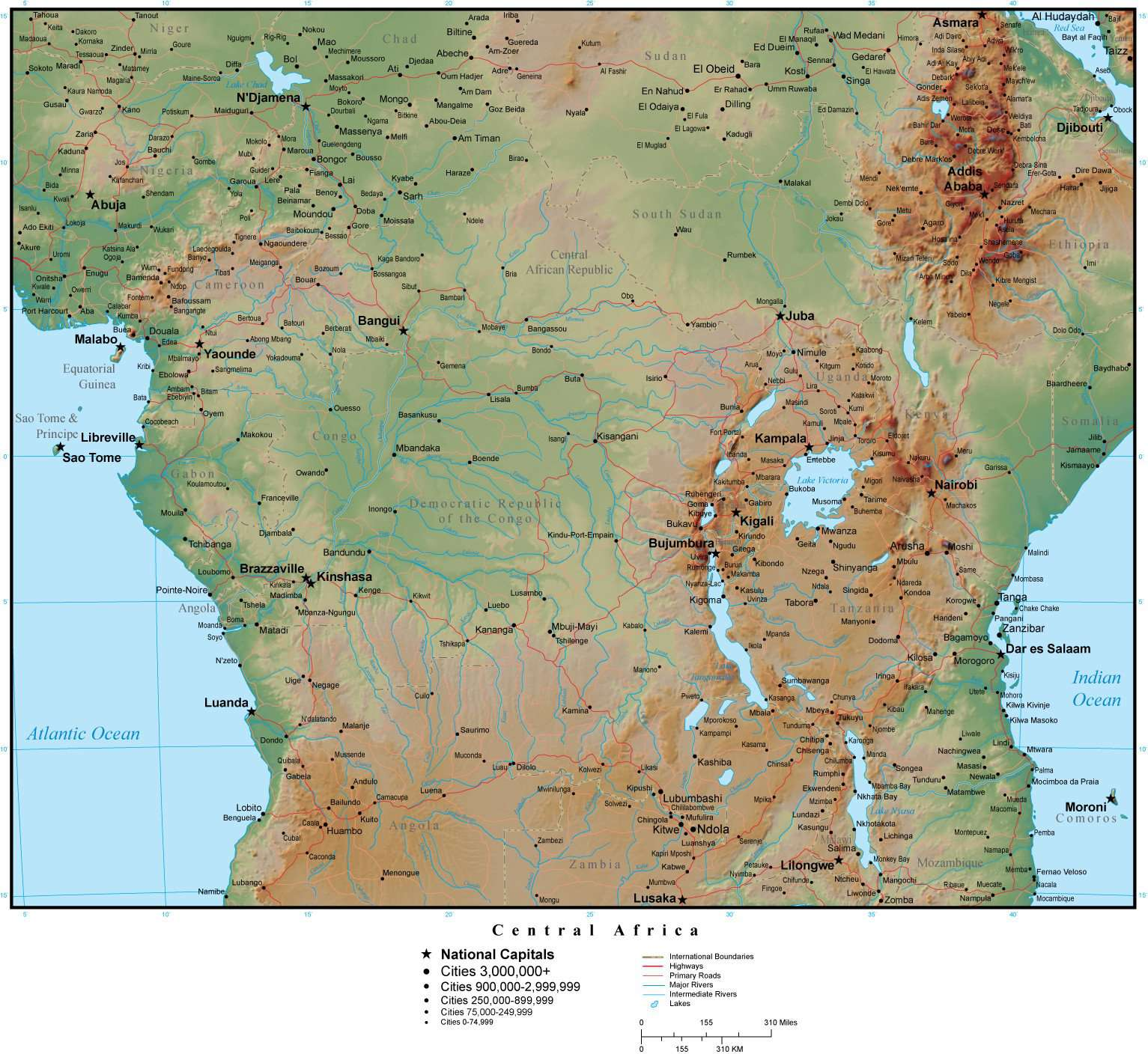Central Africa Map Plus Terrain with Countries, Capitals, Cities, Roads,  and Water Features