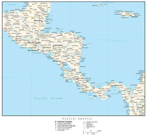 Central America Map with Country Boundaries, Capitals, Cities, Roads and Water Features