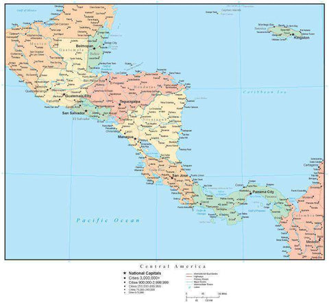 Central America Map with Countries, Capitals, Cities, Roads and Water Features
