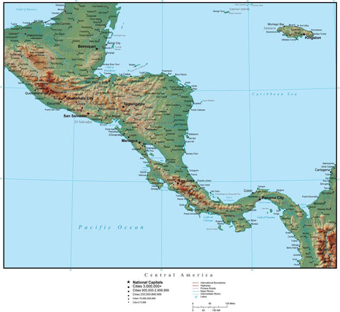 Central America Terrain map in Adobe Illustrator vector format with Photoshop terrain image C-AMER-952946
