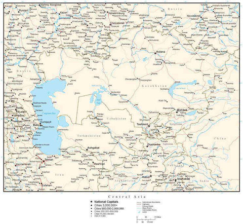 Central Asia Map with Country Boundaries, Capitals, Cities, Roads and Water Features