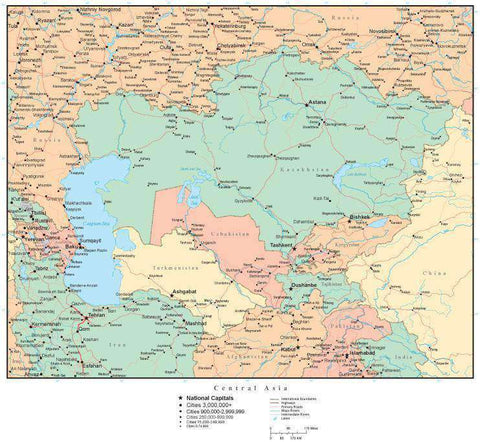 Central Asia Map with Countries, Capitals, Cities, Roads and Water Features