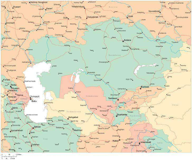 Multi Color Central Asia Map with Countries, Capitals, Major Cities and  Water Features