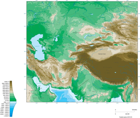 Digital Central Asia Contour map in Adobe Illustrator vector format.