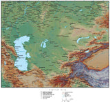 Central Asia Terrain map in Adobe Illustrator vector format with Photoshop terrain image C-ASIA-952867