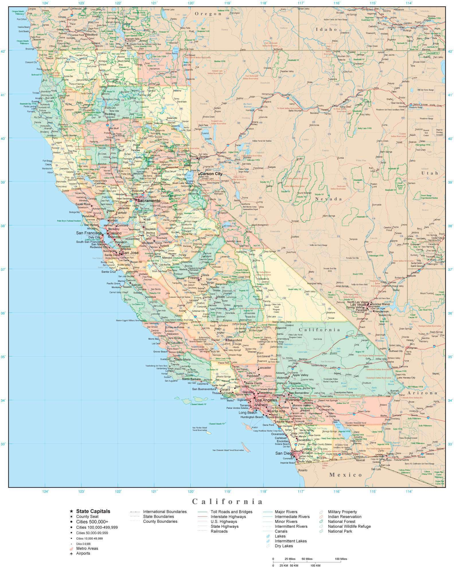 Detailed California Digital Map with Counties, Cities, Highways, Railroads,  Airports, National Parks and more