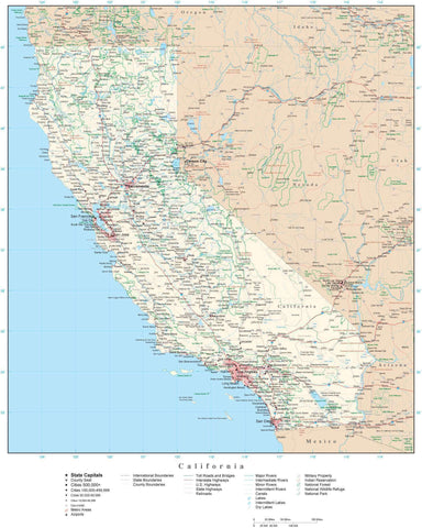 Detailed California Digital Map with County Boundaries, Cities, Highways, and more
