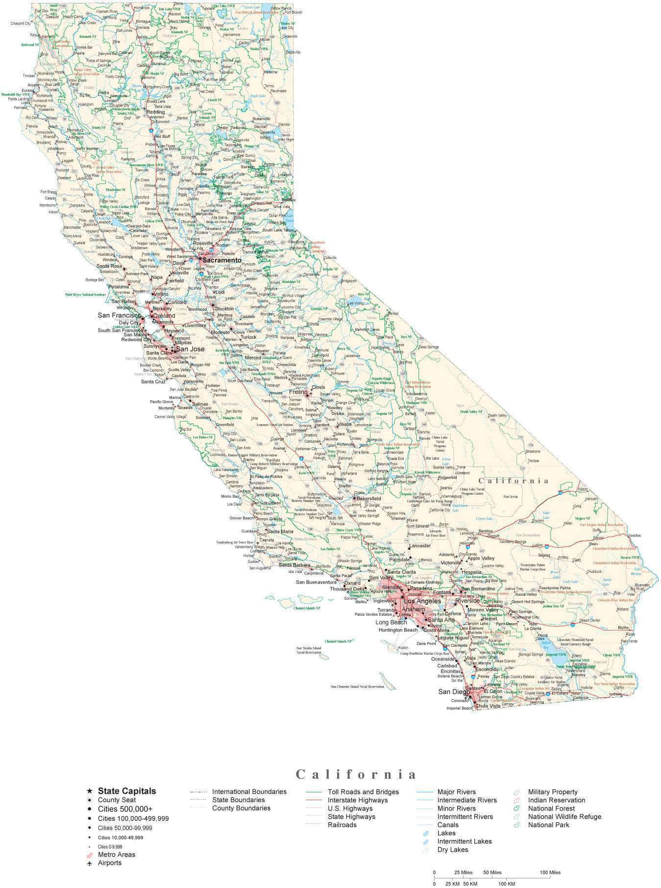 Detailed California Cut-Out Style Digital Map with County Boundaries,  Cities, Highways, National Parks, and more
