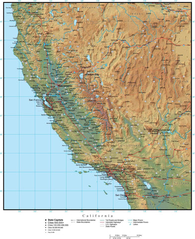 Digital California Terrain map in Adobe Illustrator vector format and more CA-USA-942204