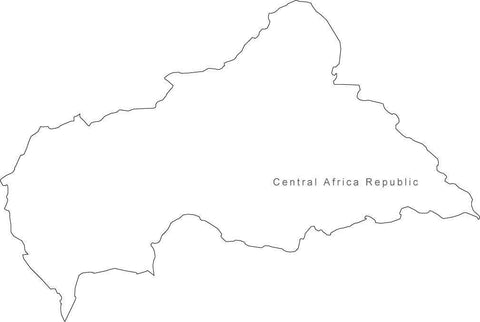 Digital Black & White Central Africa Republic map in Adobe Illustrator EPS vector format