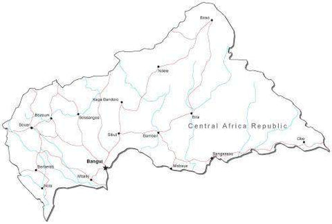 Central African Republic Black & White Map with Capital, Major Cities, Roads, and Water Features