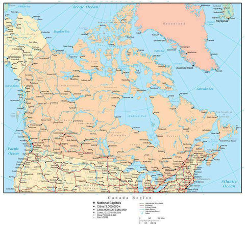 Canada Region Map with Countries, Canadian Provinces, Capitals, Cities, Roads and Water Features