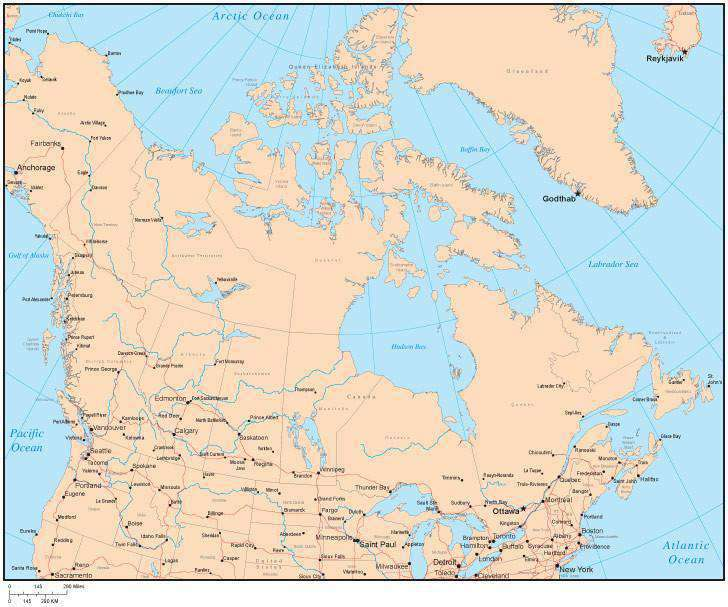 Water Features Of Canada Map Single Color Canada Map with Provinces, Capital and Major Cities