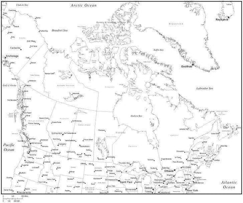 Black & White Canada Map with Canadian Provinces, Capitals and Major Cities