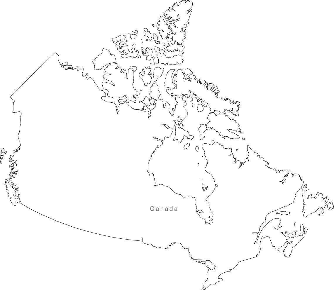 Simple Map Of Canada.Canada Map Black White Simple Outline