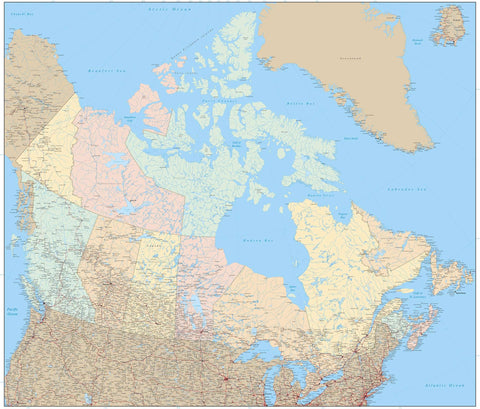 Poster Size Canada Map with Provinces