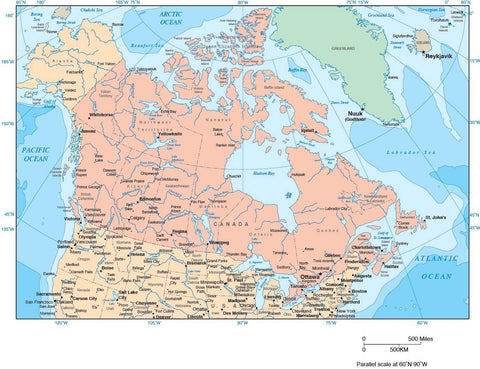 Canada Map with Provincial Boundaries and Contours in Water