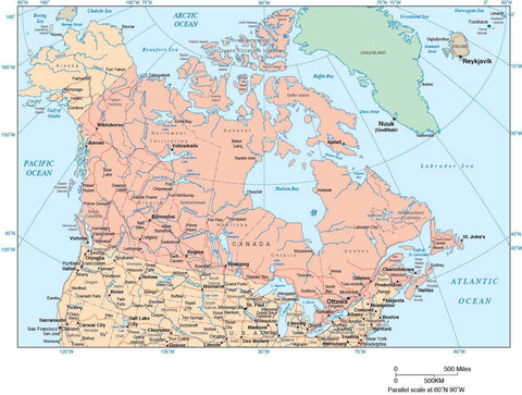 Canada Map with Provincial Boundaries, Cities and Highways