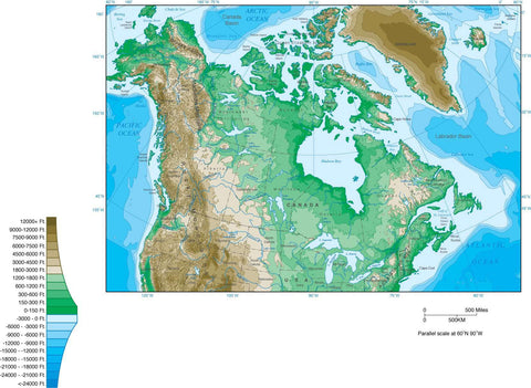 Digital Canada Contour map in Adobe Illustrator vector format.