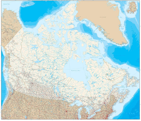 Poster Size Canada Map with Ocean Floor Contours