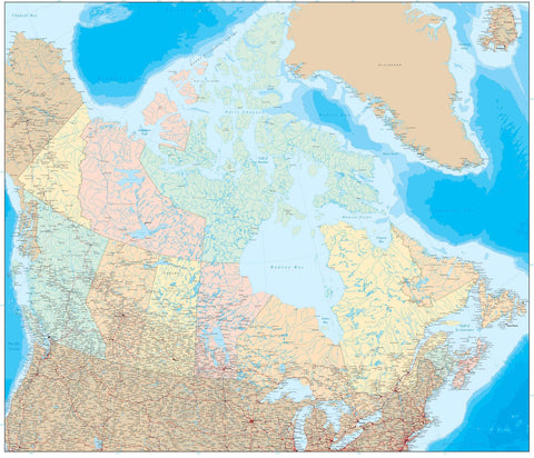 Poster Size Canada Map with Provinces & Ocean Floor Contours