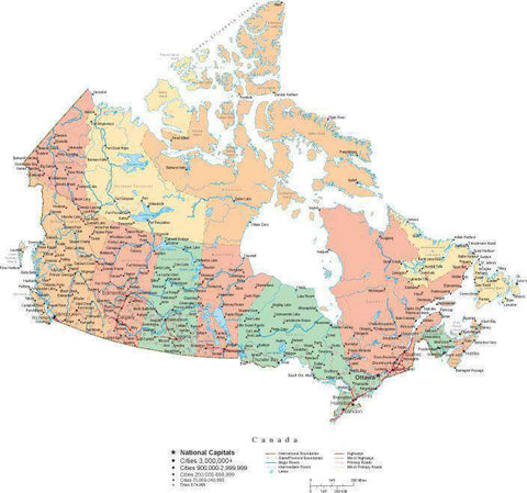 Canada Map in Cut-Out Style with Provinces and Other Features