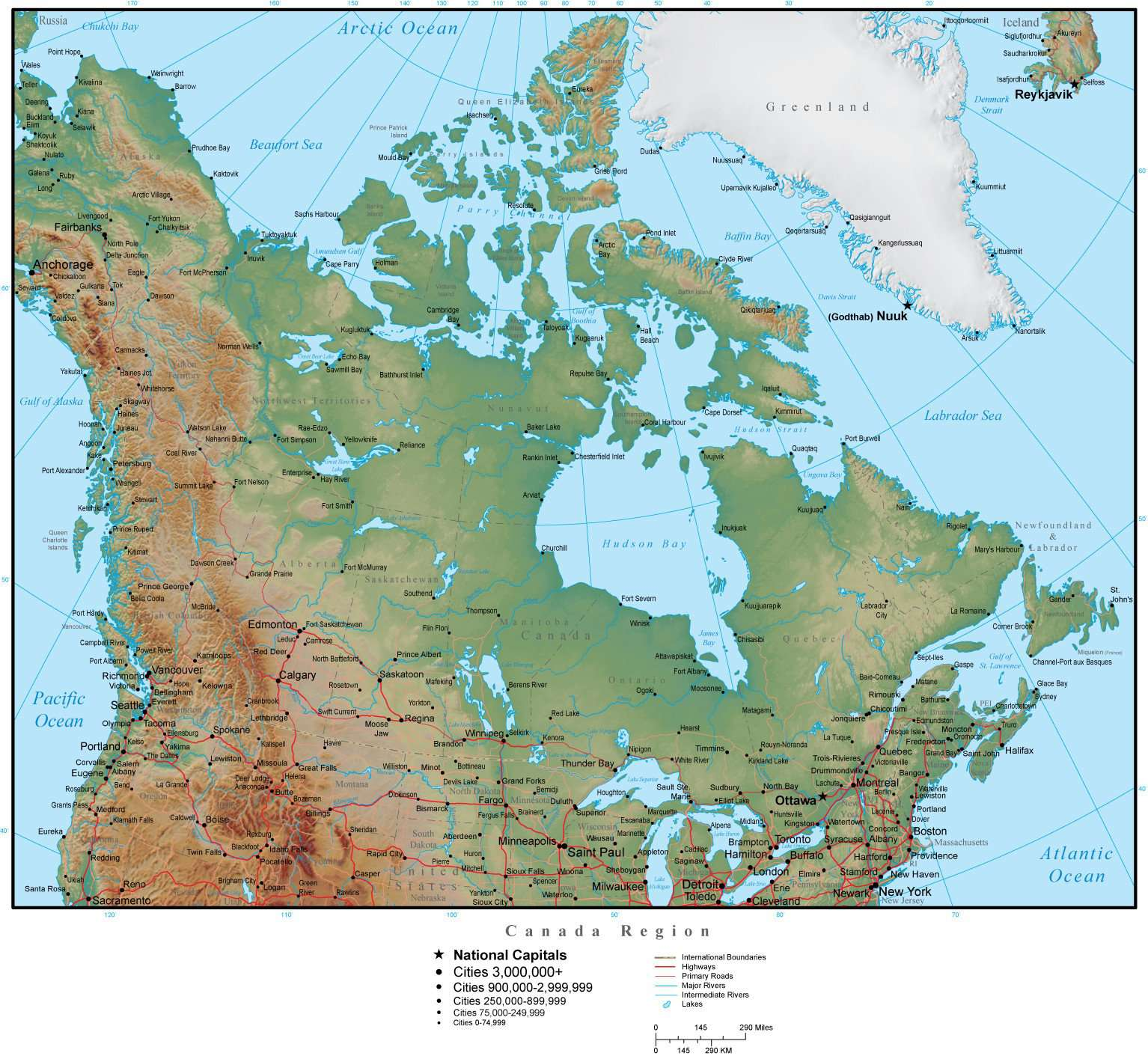Map Of Canada And The States.Canada Region Map Plus Terrain With Countries Us States Canadian Provinces Cities Roads Water Features
