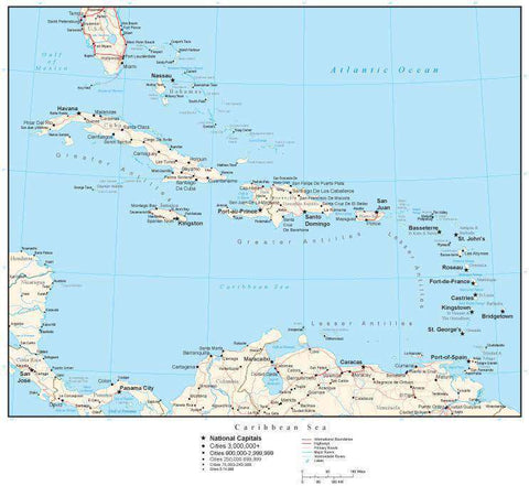 Caribbean Map with Country Boundaries, Capitals, Cities, Roads and Water Features