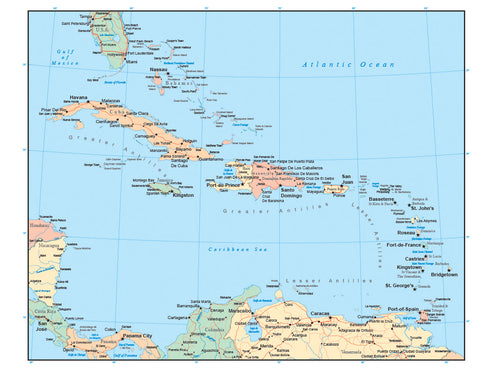 Caribbean Map with Countries, Capitals, Cities, Roads and Water Features