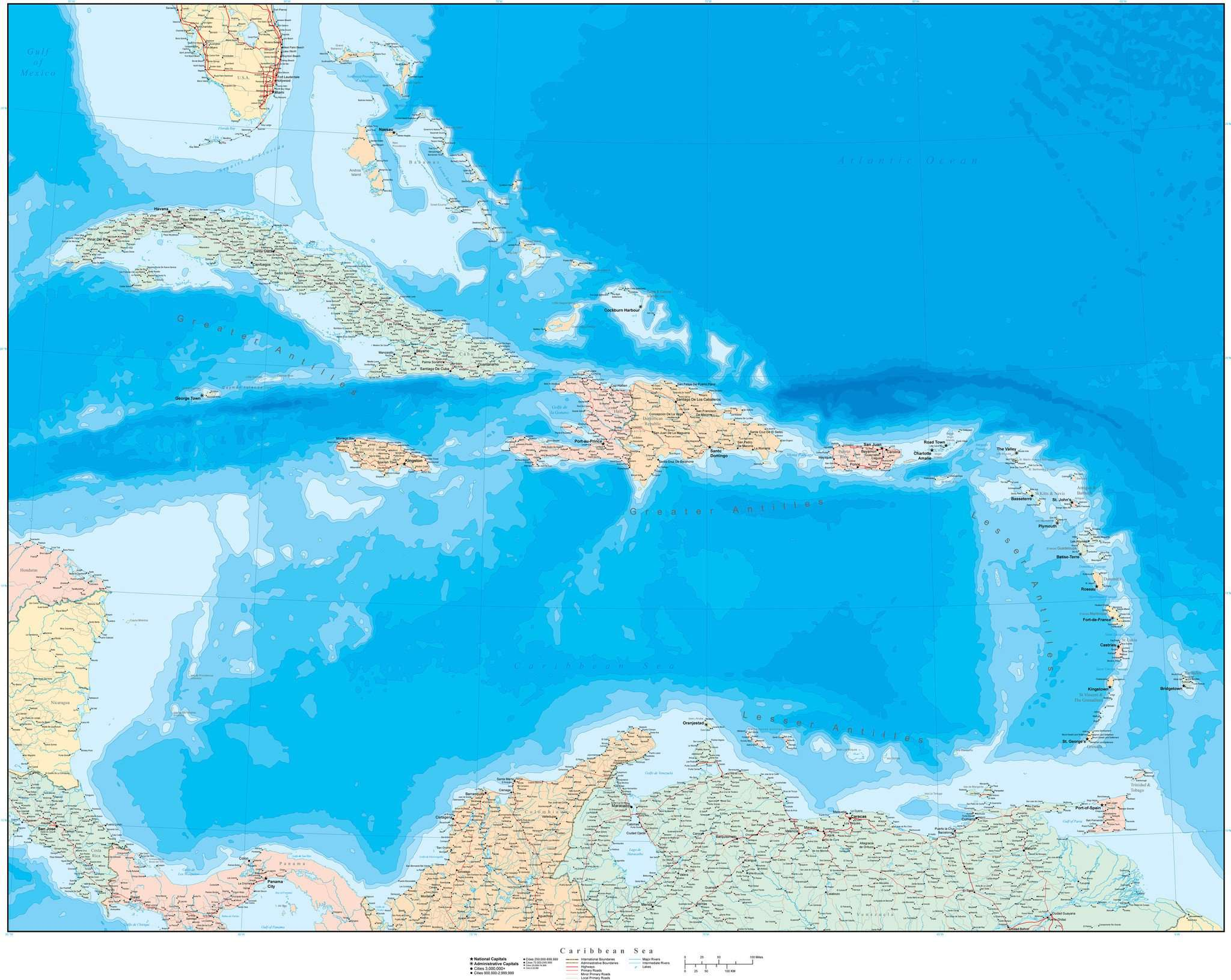 Poster Size Caribbean Sea Map with Contours