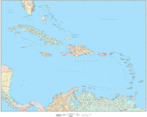 Poster Size Caribbean Sea Map