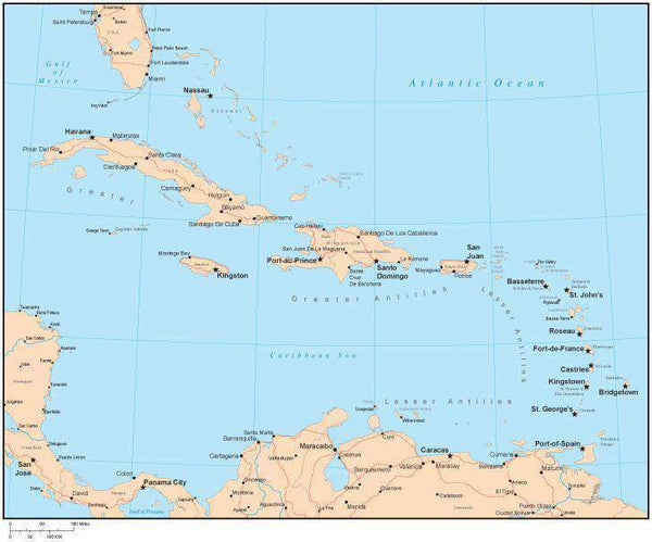 Single Color Caribbean Sea Map with Countries, Capitals, Major Cities on rose color, rose date, rose print, rose path, rose tree, rose street, rose kill,