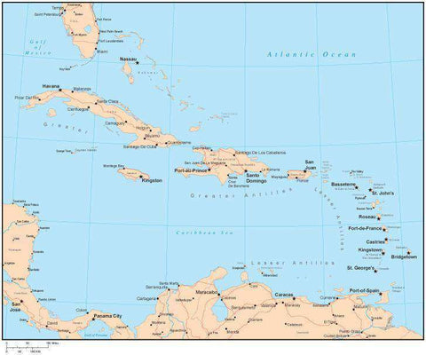 Single Color Caribbean Sea Map with Countries, Capitals, Major Cities and Water Features