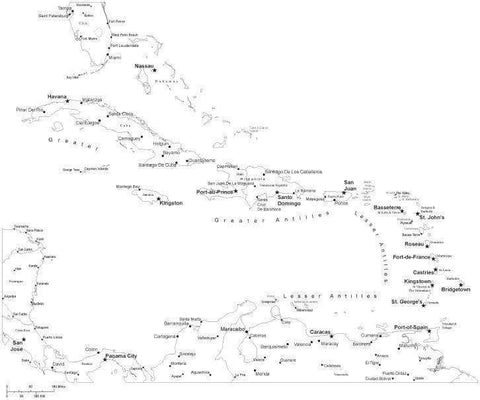 Black & White Caribbean Sea Map with Countries, Capitals and Major Cities - CARIBB-533901