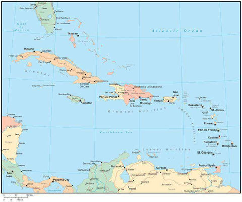 Multi Color Caribbean Sea Map with Countries, Capitals, Major Cities and Water Features