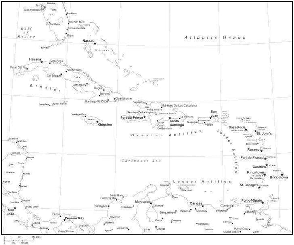 Black And White Map Of The Caribbean Black & White Caribbean Sea Map with Countries and Major Cities