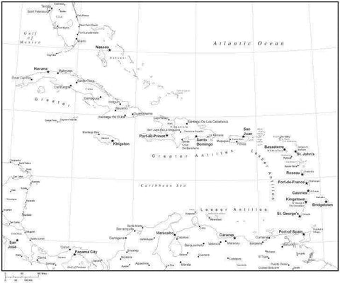 Black & White Caribbean Sea Map with Countries, Capitals and Major Cities - CARIBB-533915