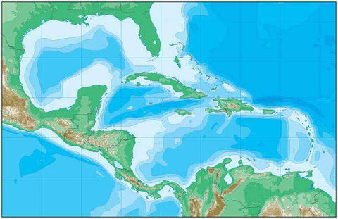 Caribbean Map with Contours in Land and Water