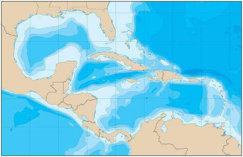 Caribbean Map with Political Boundaries and Contours in the Water