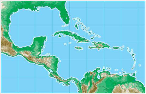 Caribbean Map with Land Contours