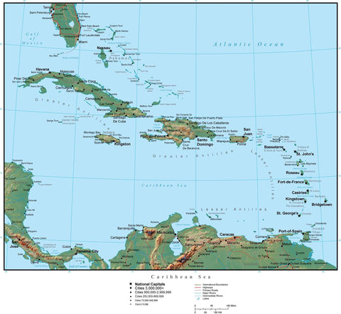 Caribbean Terrain map in Adobe Illustrator vector format with Photoshop terrain image CARIBB-952790