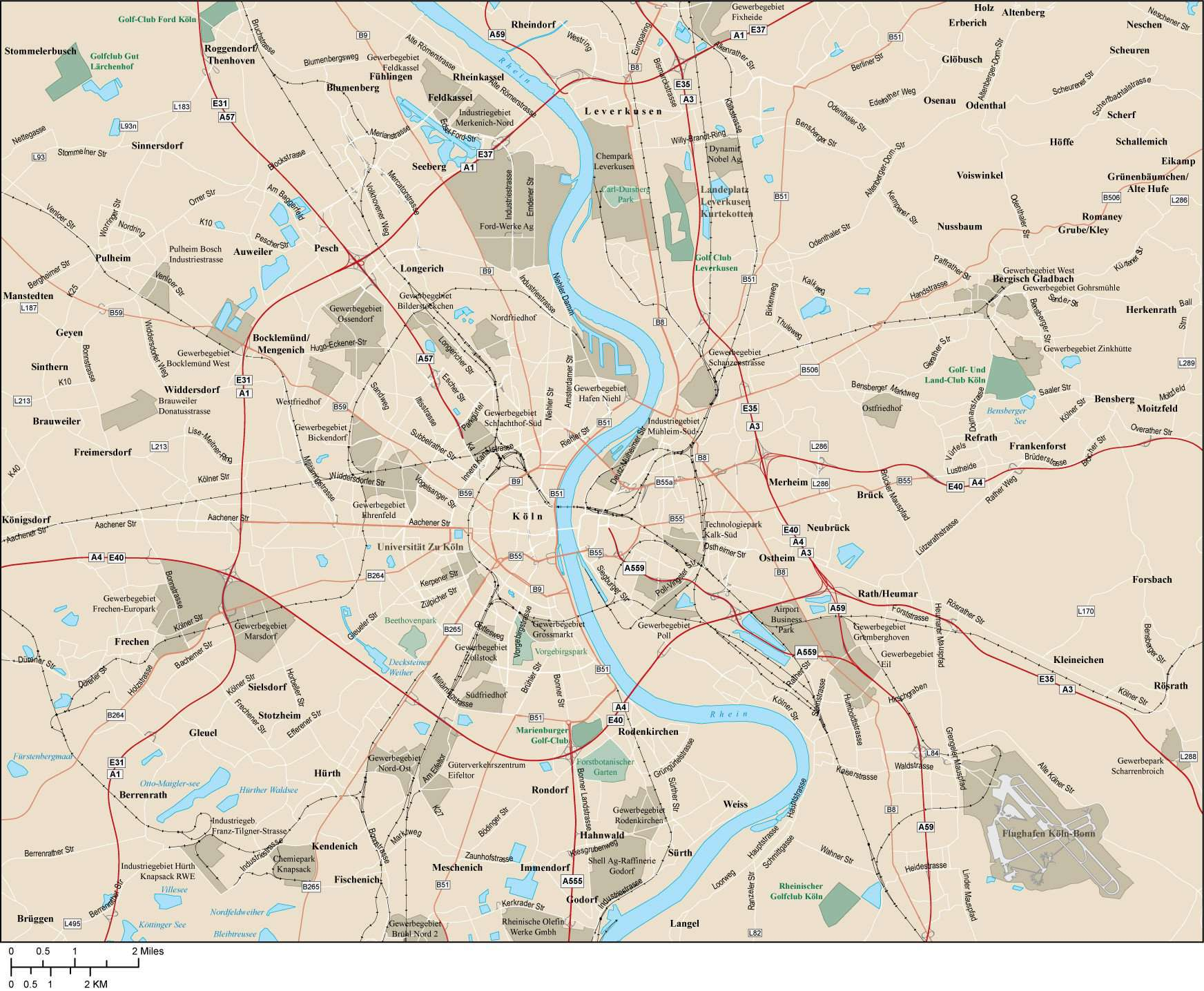 Cologne On Map Of Germany.Cologne Germany Map 560 Square Miles With Arterial And Major Roads