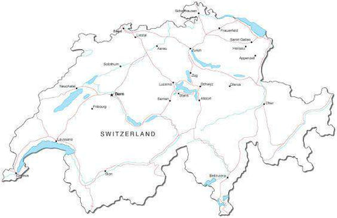 Switzerland Black & White Map with Capital, Major Cities, Roads, and Water Features