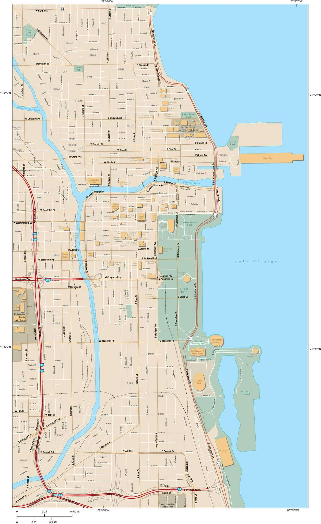 Chicago IL Map - City Center with Local Streets – Map Resources