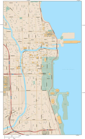 Chicago  IL Map - City Center - 15 square miles - with Local Streets