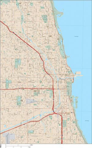 Chicago  IL Map - 120 square miles - with Local Streets