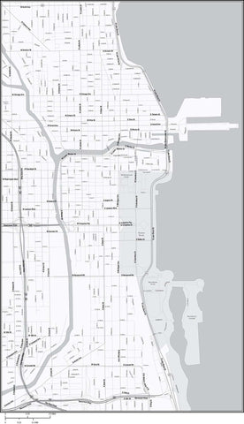 Chicago  IL Map - Black & White City Center - 15 square miles - with Local Streets