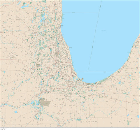 Chicago  IL Map (Chicagoland - Over 140,000 square miles) with Arterial and Major Road Network