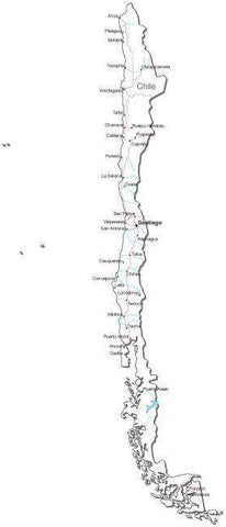 Chile Black & White Map with Capital, Major Cities, Roads, and Water Features