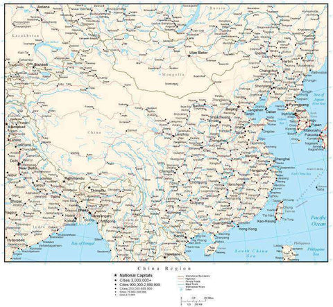 China Region Map with Country Boundaries, Capitals, Cities, Roads and Water Features